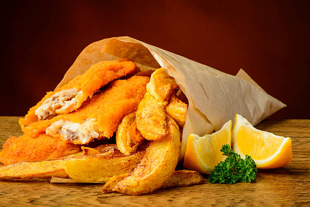 Traditionelles fish and chips – Foto