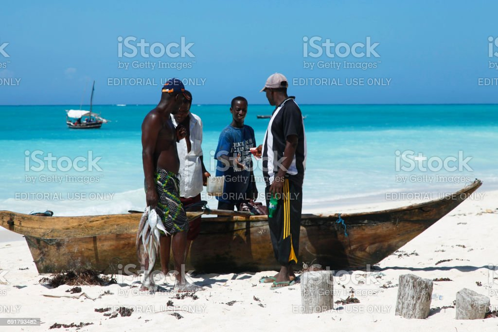 Traditional fish market on the beach stock photo
