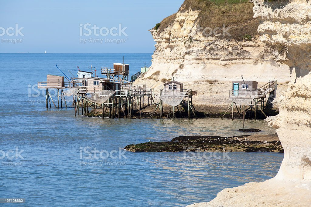 traditional fisherman's wooden hut estuary of Gironde stock photo