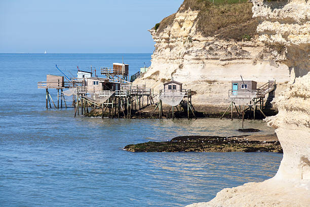 tradicional cabana de madeira pescador do estuário do gironde - estuário imagens e fotografias de stock