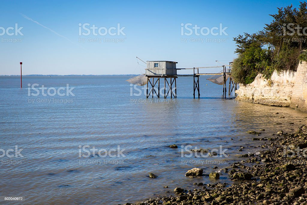 traditional fisherman's wooden hut, Talmont sur Gironde, France stock photo