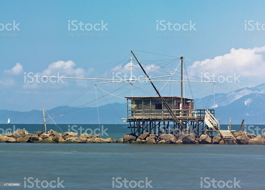 Traditional fishery activity at the river's mouth royalty-free stock photo