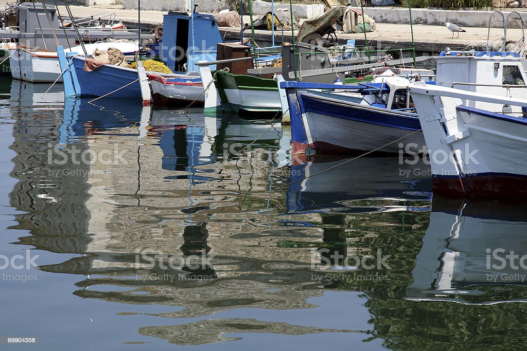 Traditional fishing boats in the habour of Greek Island Thassos royalty-free stock photo