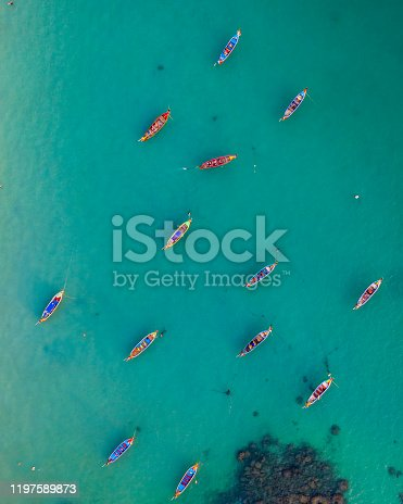 Traditional fishing boats photographed in Phuket, Thailand