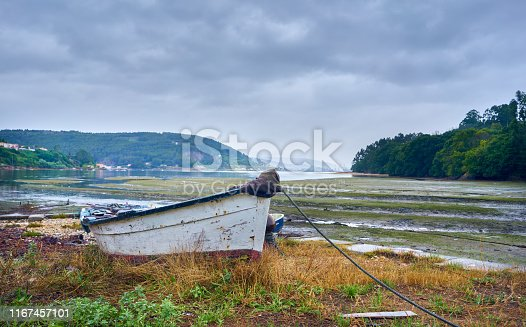 Traditional fishing rowing boat on the Galician coast, northern Spain