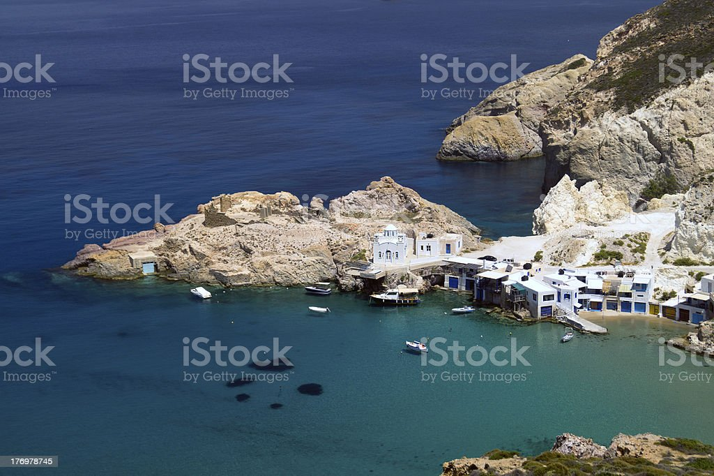 Traditional fishing village on Milos island, Greece royalty-free stock photo