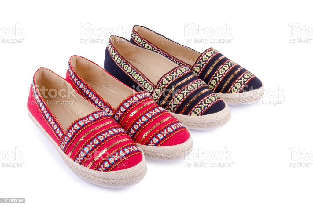 12dbecbac Traditional flat shoes for women isolated on white - Stock image .