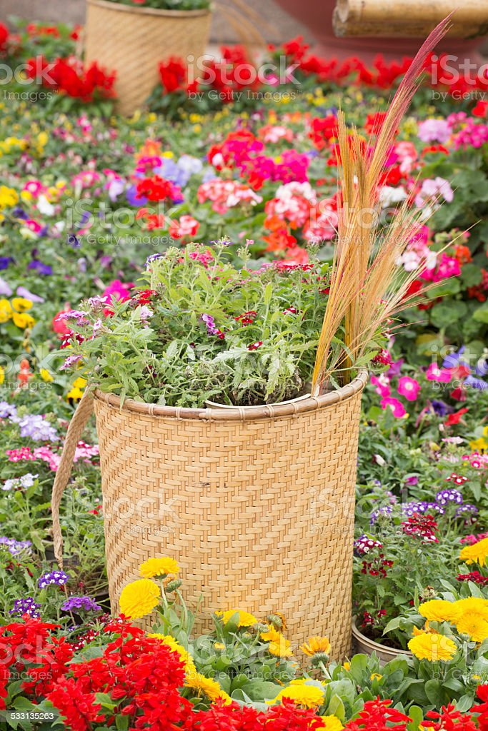 Traditional flower basket of ethnic groups. stock photo