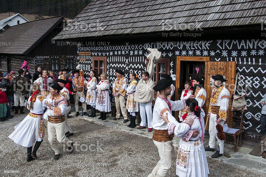 Traditional folk carnival in Slovakia stock photo