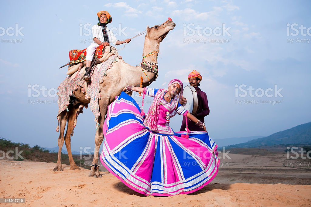 Traditional Folk Dancers in India stock photo