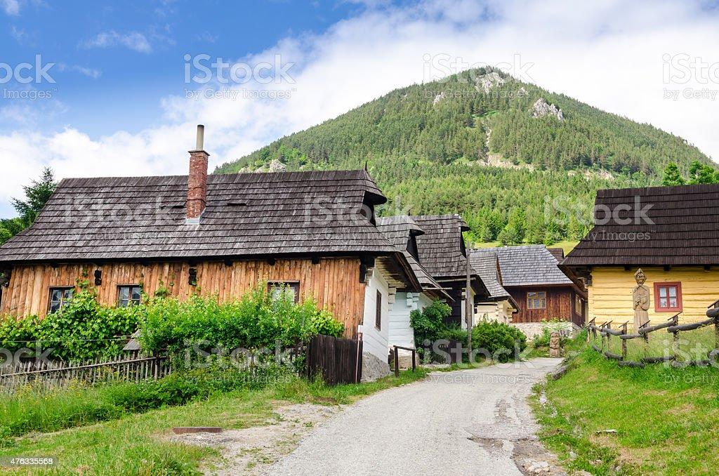 伝統的な民族の村の家 Vlkolinec ,スロバキア ロイヤリティフリーストックフォト