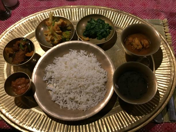 Traditional food in Nepal stock photo