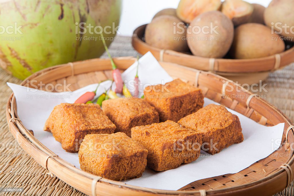Traditional Food Indonesia Fried Tofu Tahu with chilli stock photo