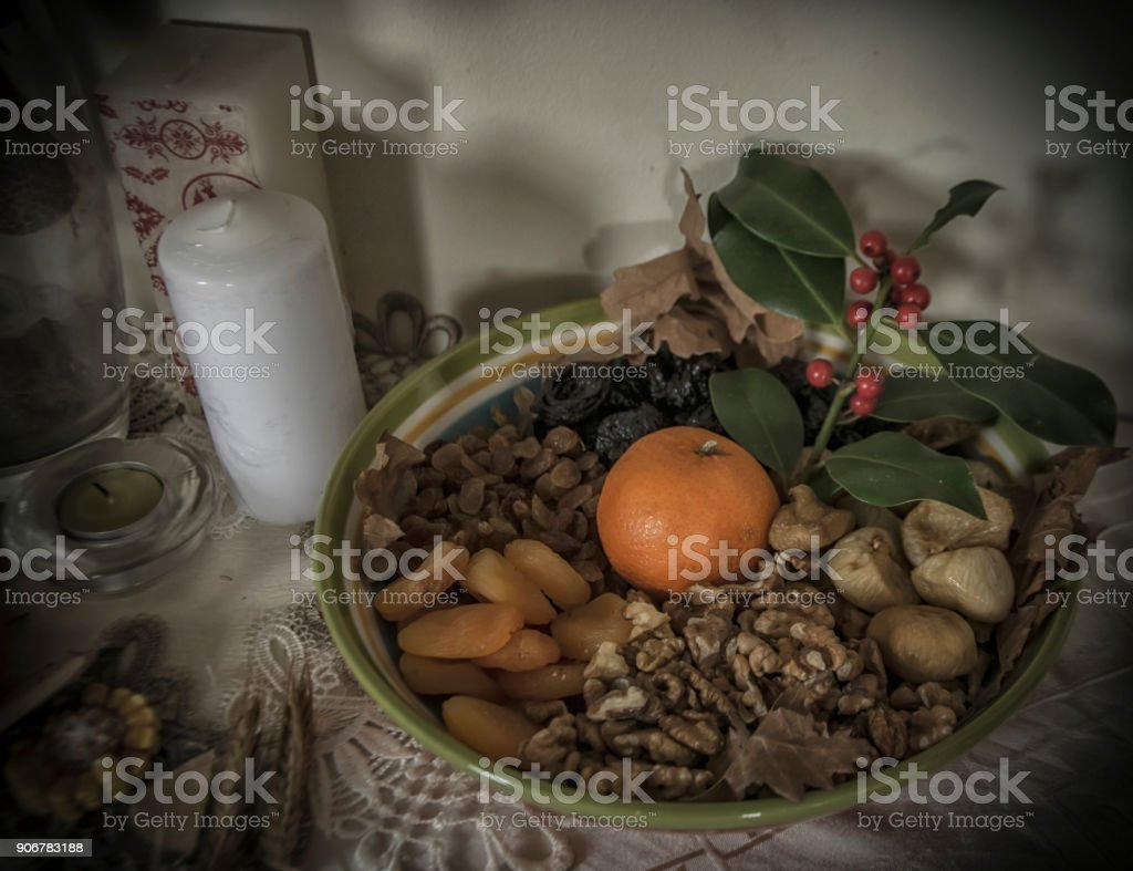 Traditional food on Orthodox Christmas Eve stock photo