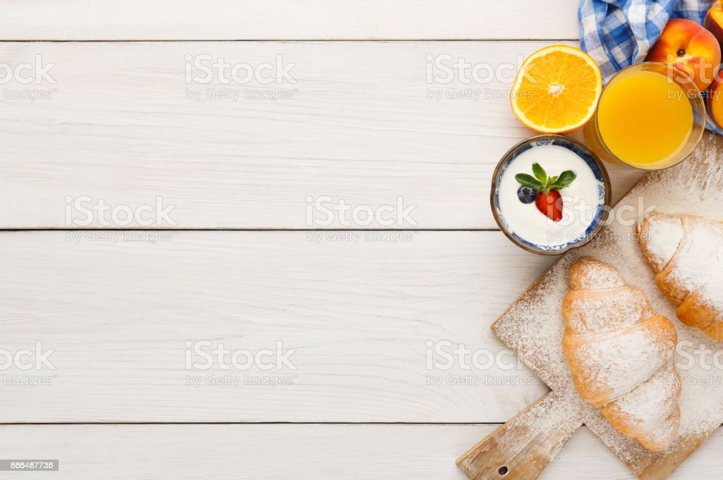 Traditional french breakfast background copy space stock photo