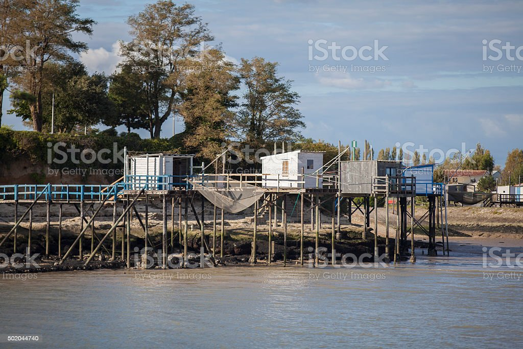 traditional french fisherman wooden hut, estuary of Gironde, Meschers-sur-Gironde stock photo
