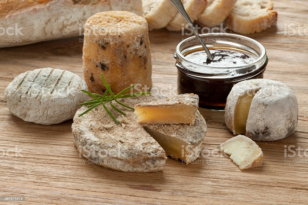 Traditional french goats cheeses stock photo