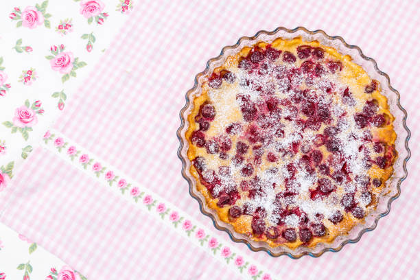 Traditional French milk pie with cherry stock photo