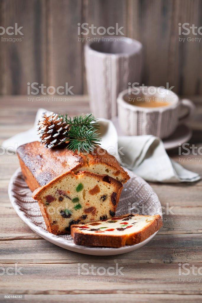 Traditional fruitcake for Christmas stock photo