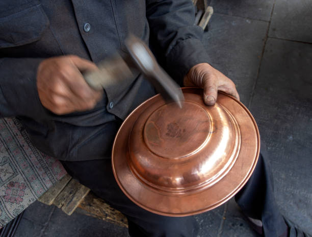 traditional gaziantep copper and crafts stock photo