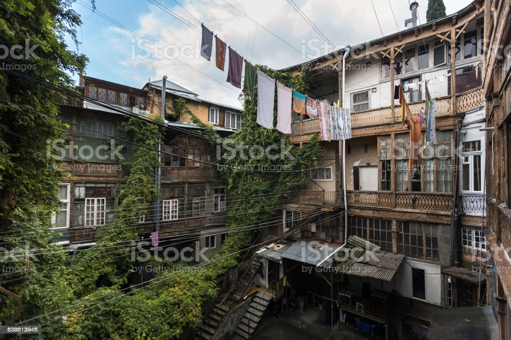 Traditional georgian architecture of old houses in the Avlabari district stock photo