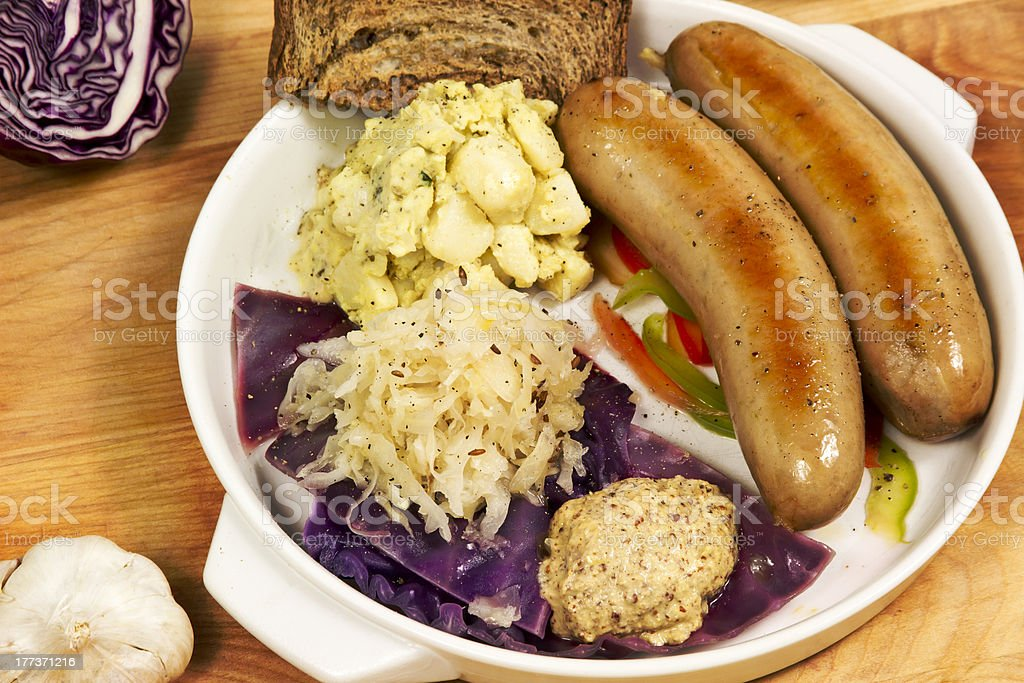 Traditional German Bratwurst Meal stock photo