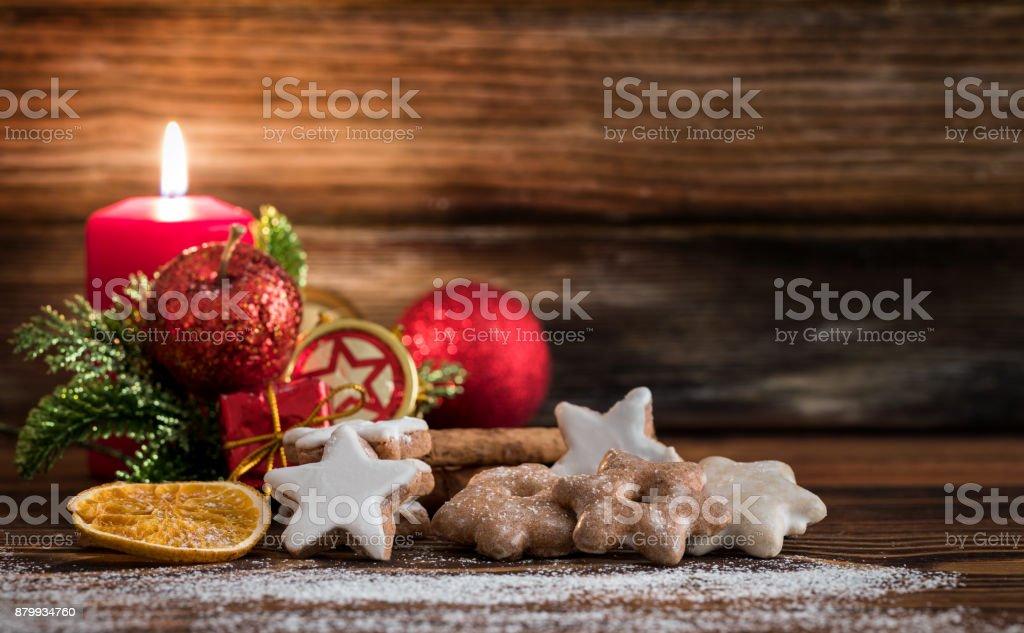 Traditional German Christmas Cookies Cinnamon Stars Stock Photo