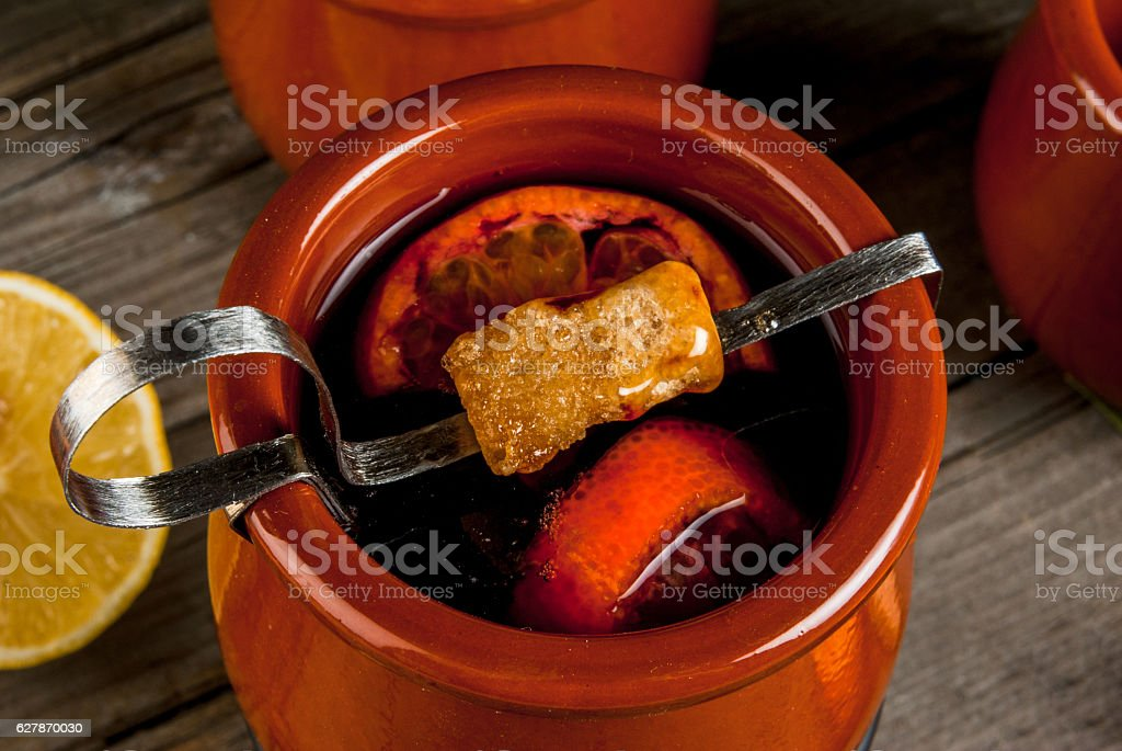 Traditional German Christmas drink Feuerzangenbowle stock photo