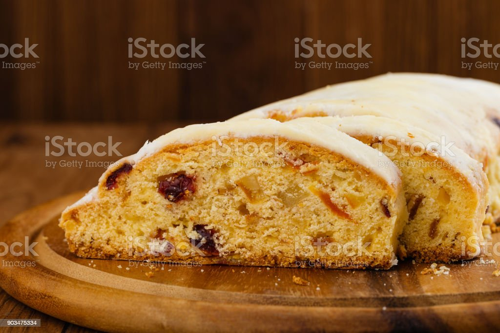 traditional german christmas stollen fruit cake or homemade sweet bread royalty free stock photo