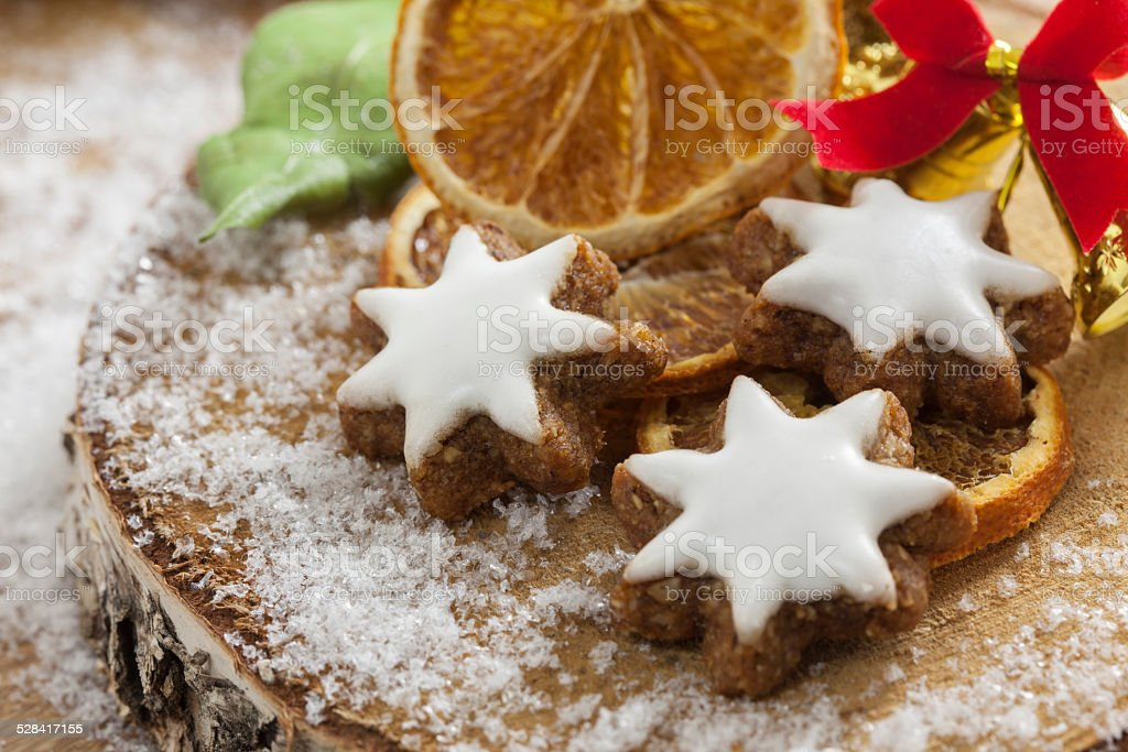 Traditional German Cinnamon Cookies On A Wooden Disc Stock Photo