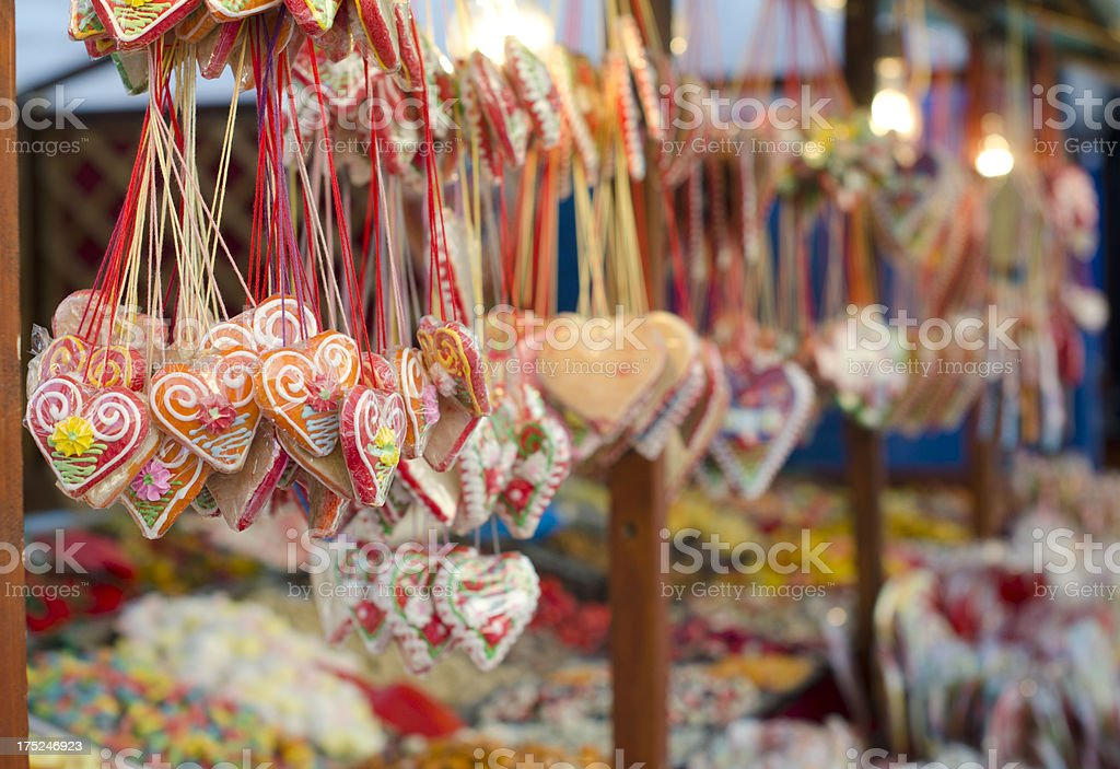 Traditional German heart ginger bread sweet stock photo