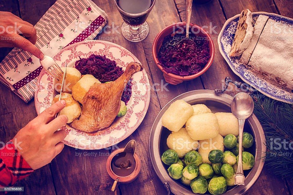 Tradycyjnej Kuchni Niemieckiej Wakacje Goose Obiad Z Kluskami I