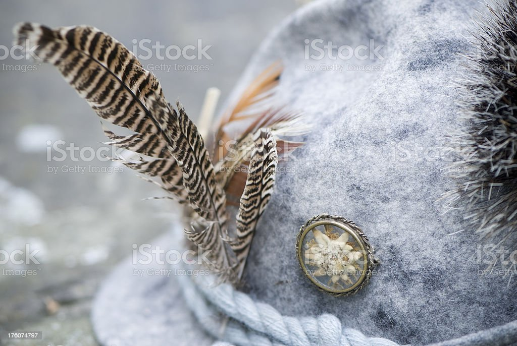 Traditional German hunter's felt hat, Edelweiss and feather royalty-free stock photo