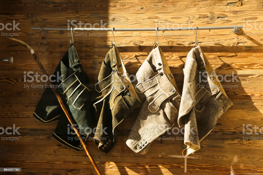 Traditional german or austrian breeches stock photo