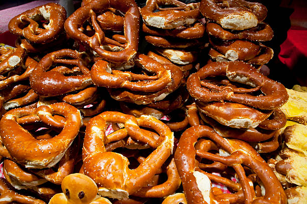 Traditional german pretzels at Christmas Market stock photo