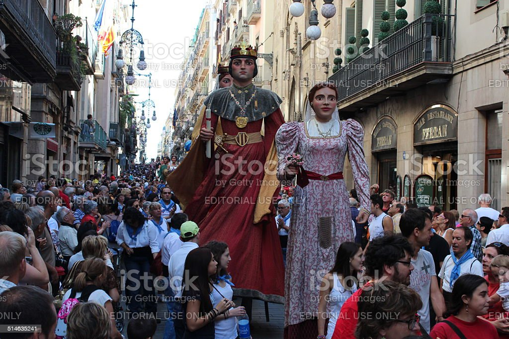 Traditional giants parade at the festival La Merce Barcelona, Spain stock photo
