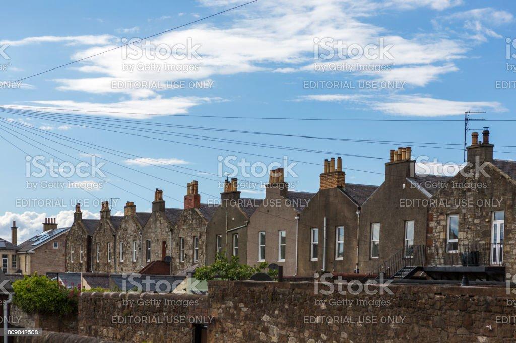 Traditional gothic houses at street of ayrshire glasgow scotland england UK stock photo
