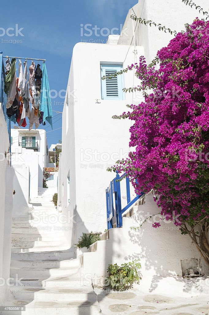 Traditional greek alley on Sifnos island, Greece royalty-free stock photo
