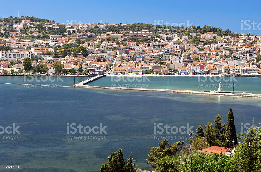 Traditional greek city of Argostoli at Kefalonia stock photo