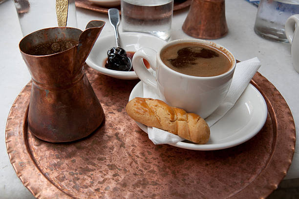 Traditional greek coffee stock photo