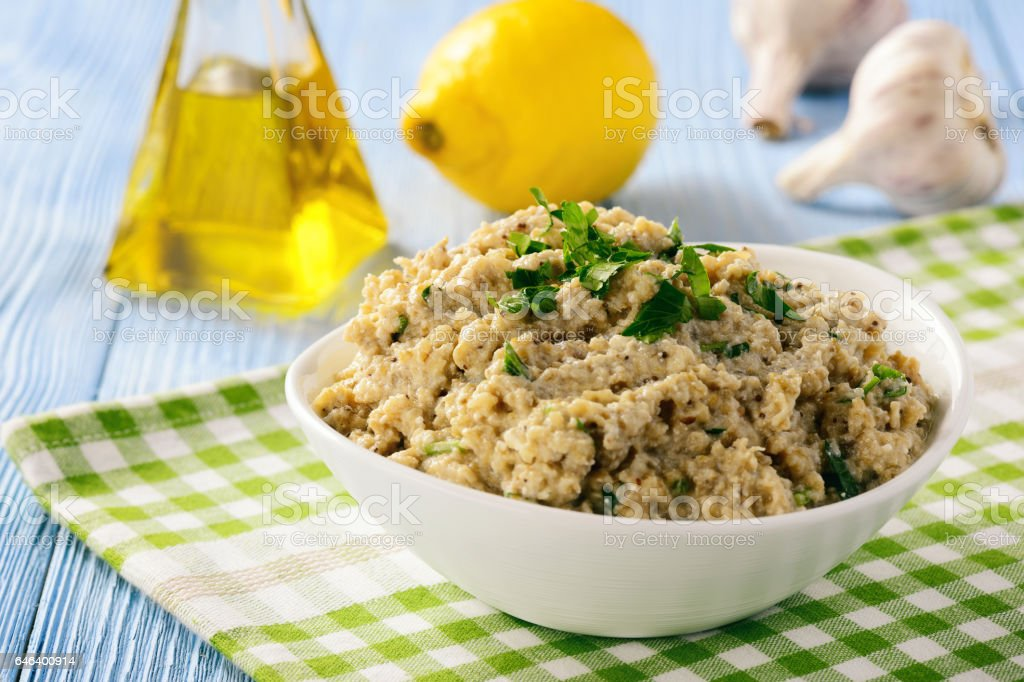 Traditional greek eggplant spread (dip). stock photo