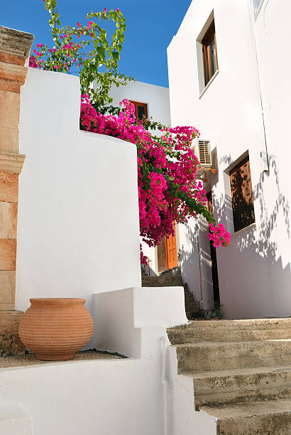 ... Traditional greek houses in Lindos stock photo ...
