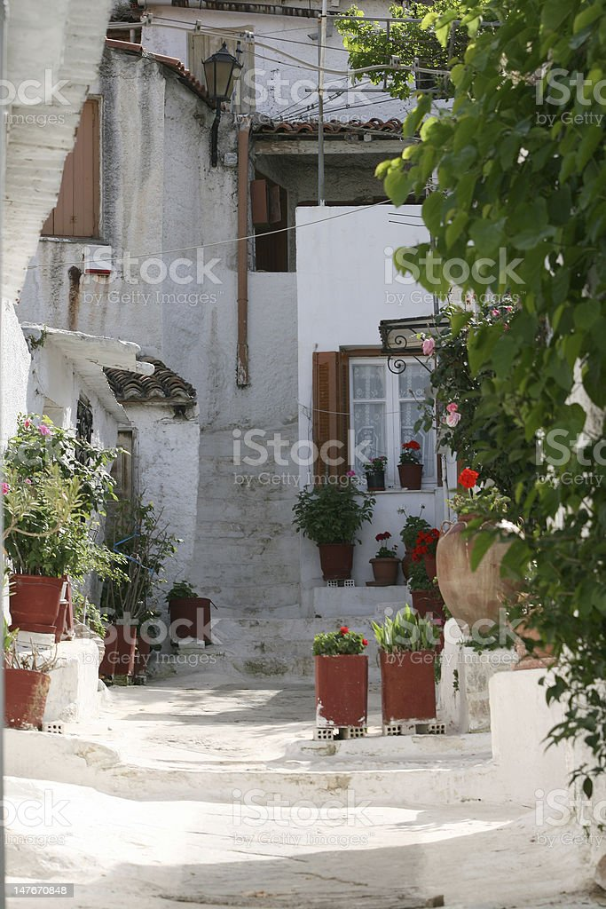traditional greek houses royalty-free stock photo