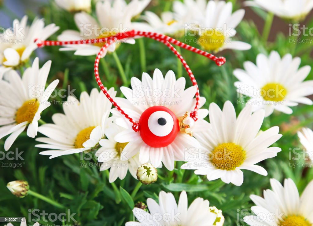 traditional greek March bracelet with evil eye on blooming daisy flowers stock photo