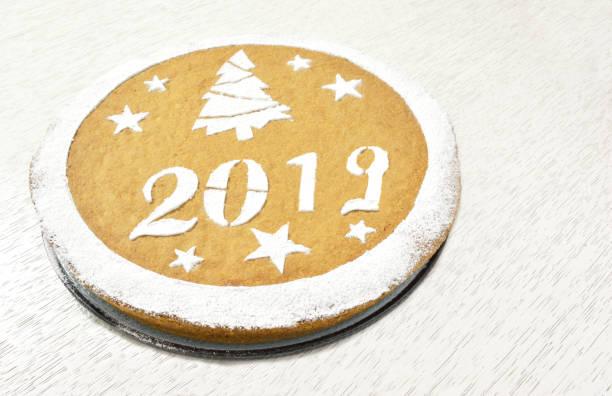 Traditional Greek New Years Cake Vasilopita 2019 Stock Photo