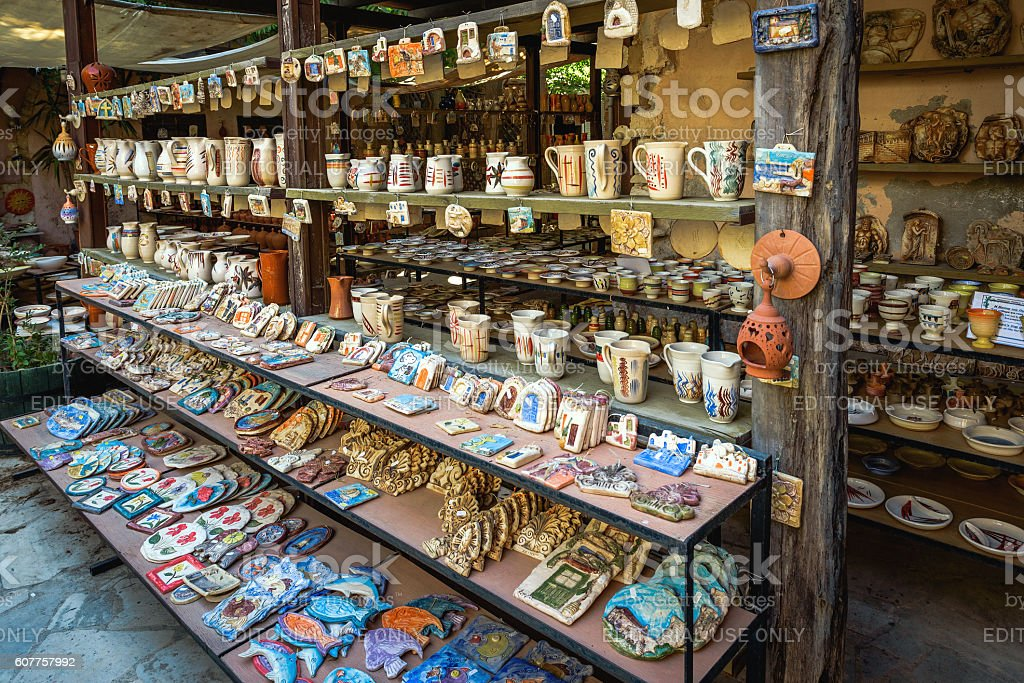 Traditional Greek souvenir shop at Chania town on Crete island stock photo