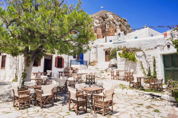 Traditional greek street, Amorgos, Cyclades, Greece stock photo