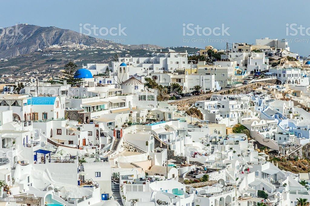 Traditional Greek whitewashed architecture on Santorini Island stock photo