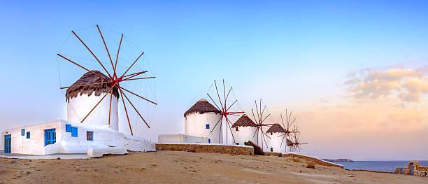 Traditional greek windmills on Mykonos island, Cyclades, Greece stock photo