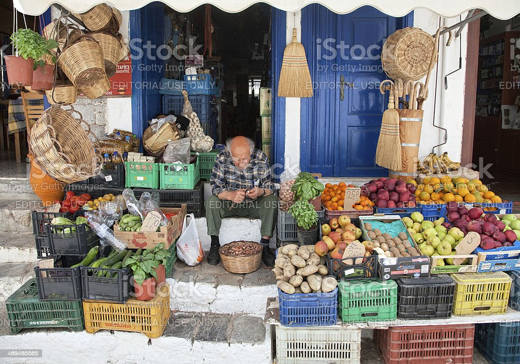 Traditional grocery store at Hydra island stock photo